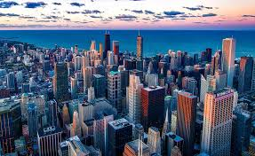 aerial view of chicago at sunset