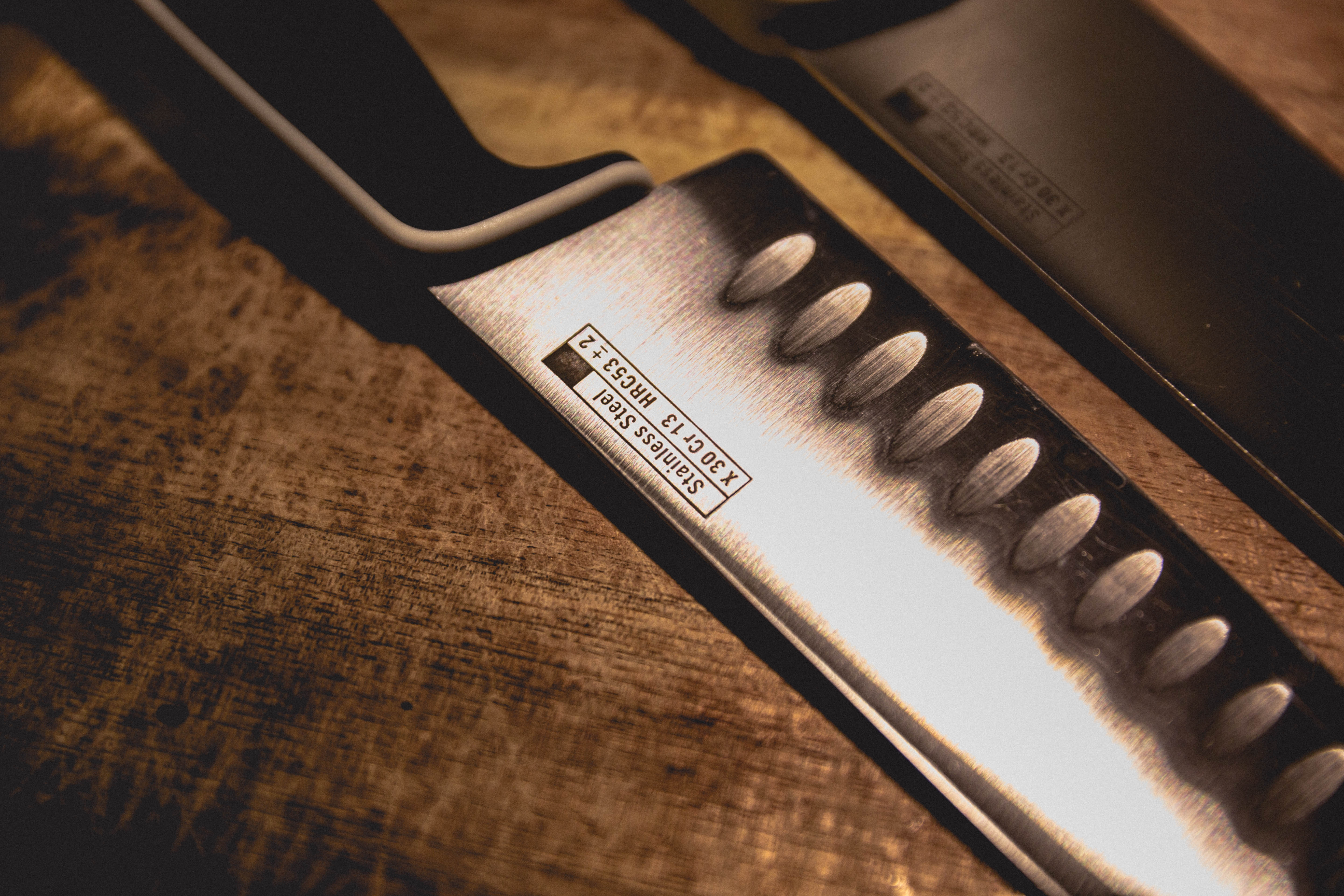 close up of shiny polished kitchen knife