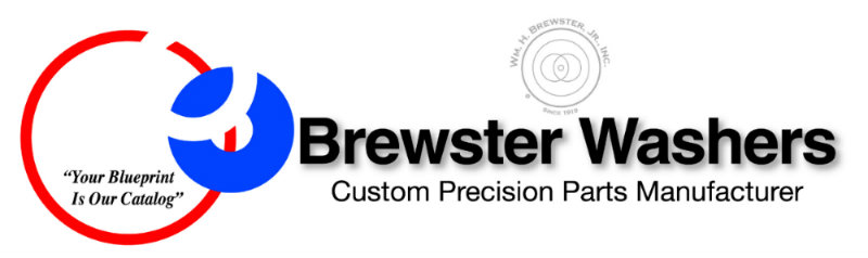 Wm. H. Brewster Jr., Inc. in Fairfield, NJ. Custom precision manufacturing of American-made thinner thickness flat washers, shims, discs & odd shaped parts.