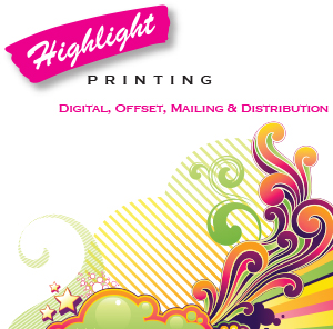 Highlight Printing in Minneapolis, MN. 1-4 color digital & offset printing, graphic design & binding, including personalization & soft proofing, mailing, fulfillment, online ordering, inventory control & warehousing.