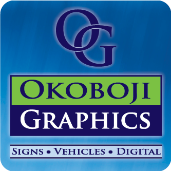 Okoboji Graphics in Spirit Lake, IA. Interior & exterior signs & printed banners, truck & trailer fleet lettering, vehicle wraps & automobile, marketing & advertising graphics, including 60-inch wide-format printing, laminating, cut vinyl, decals & web site development.